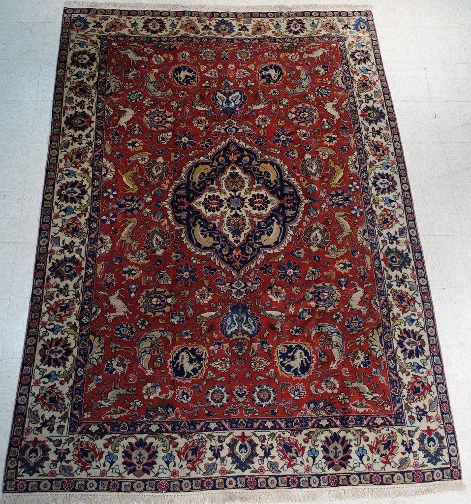 "7'1"" x 9'6""   Antique Persian Tabriz Rug Angle View"