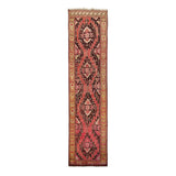 "3'9"" x 14'10""   Antique Caucasian Karabakh Runner Rug Top View"