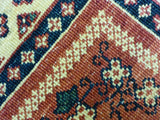 "3'7"" x 4'11""   Persian Kashkuli Rug Back View"