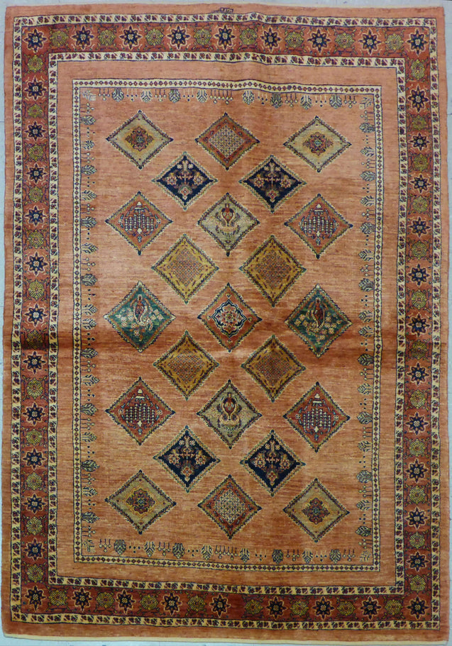 "4'10"" x 6'11""   Persian Kashkuli Rug Top View"