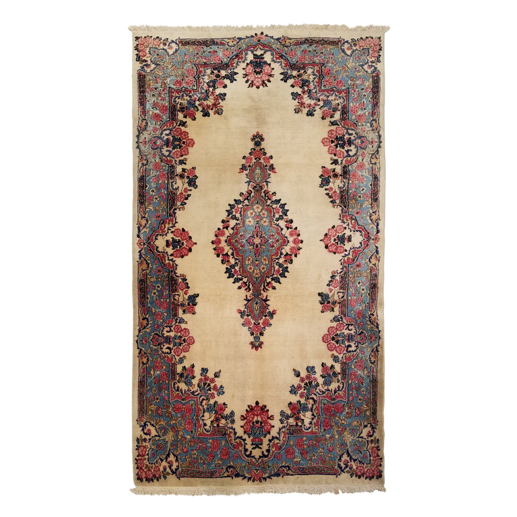 "4'0"" x 7'3""   Antique Persian Kerman Rug Top View"