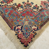 "4'0"" x 7'3""   Antique Persian Kerman Rug Angle View"