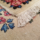 "4'0"" x 7'3""   Antique Persian Kerman Rug Back View"