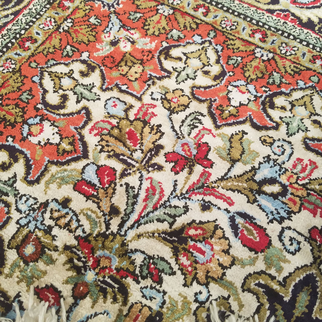 "2'9"" x 4'3""   Silk Persian Qom Rug Back View"