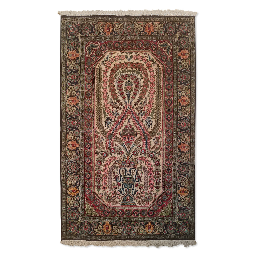 "2'9"" x 4'7""   Silk Persian Qom Rug Top View"