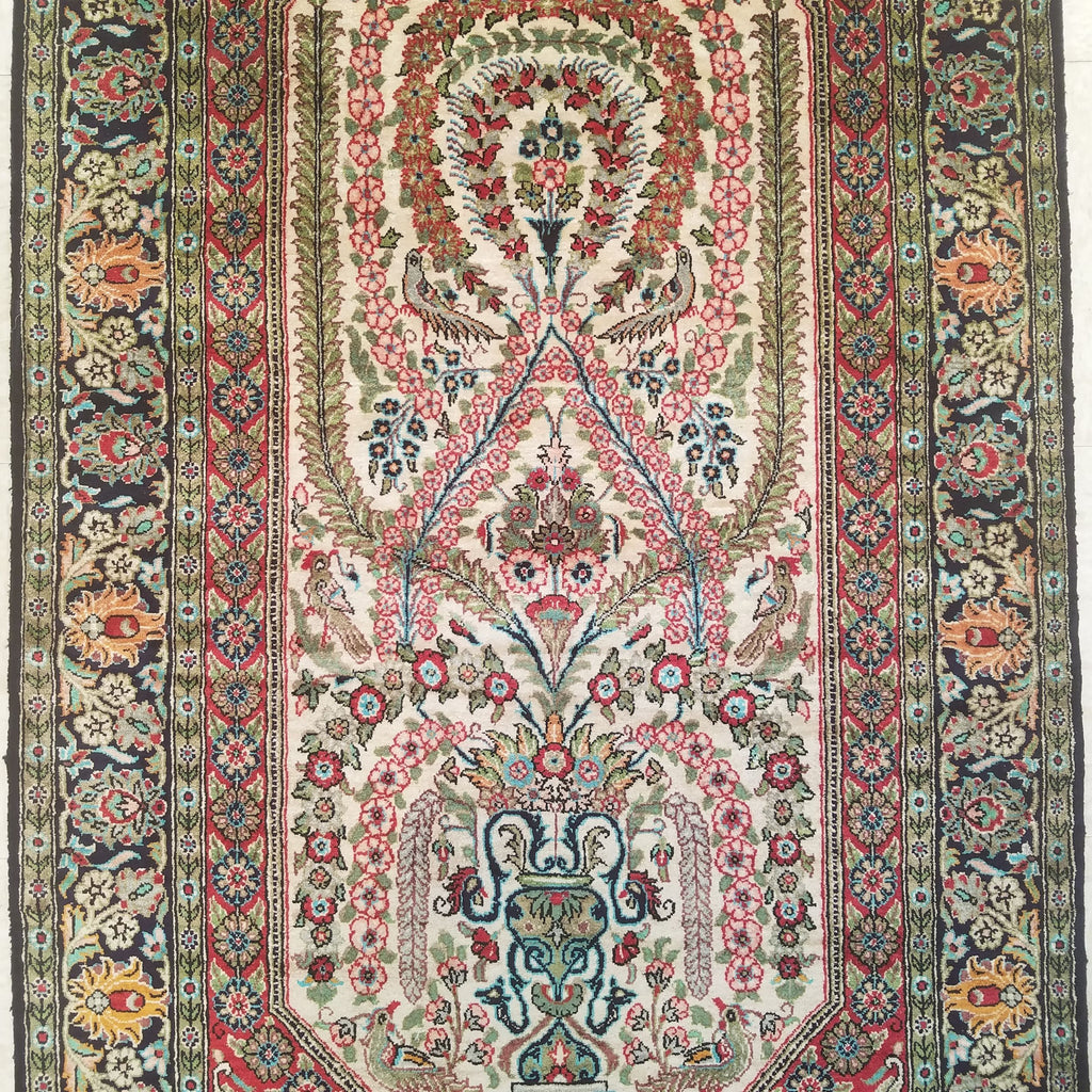 "2'9"" x 4'7""   Silk Persian Qom Rug Angle View"