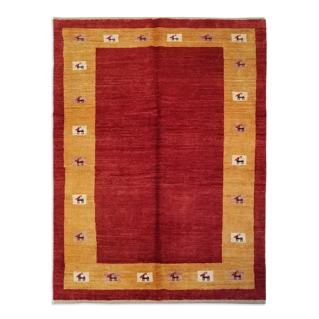 "4'11"" x 6'6""   Persian Gabbeh Rug Top View"