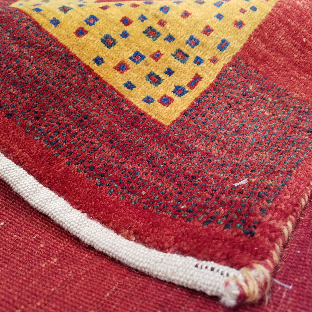 "3'5"" x 4'11""   Persian Gabbeh Rug Back View"