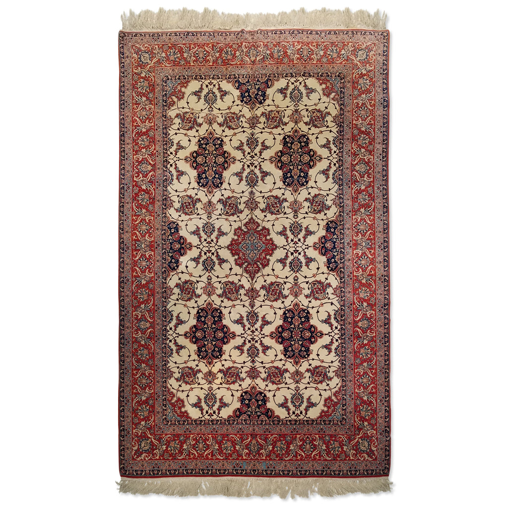 "6'6"" x 10'9""   Persian Isfahan Sarafian Rug Top View"