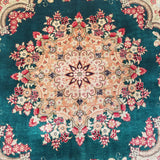"3'2"" x 3'2""   Silk Persian Qom Square Rug Angle View"