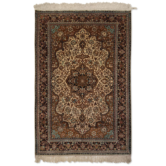 "3'7"" x 5'5""   Silk Persian Qom Rug Top View"