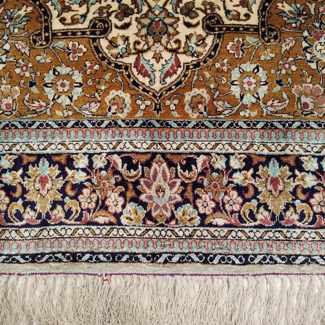 "3'7"" x 5'5""   Silk Persian Qom Rug Angle View"