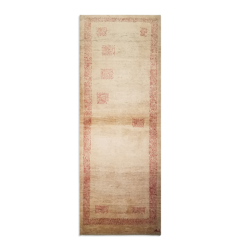 "2'11"" x 7'10""   Persian Gabbeh Runner Rug Top View"