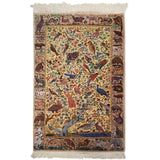 "3'4"" x 5'1""   Silk Persian Qom Rug Top View"
