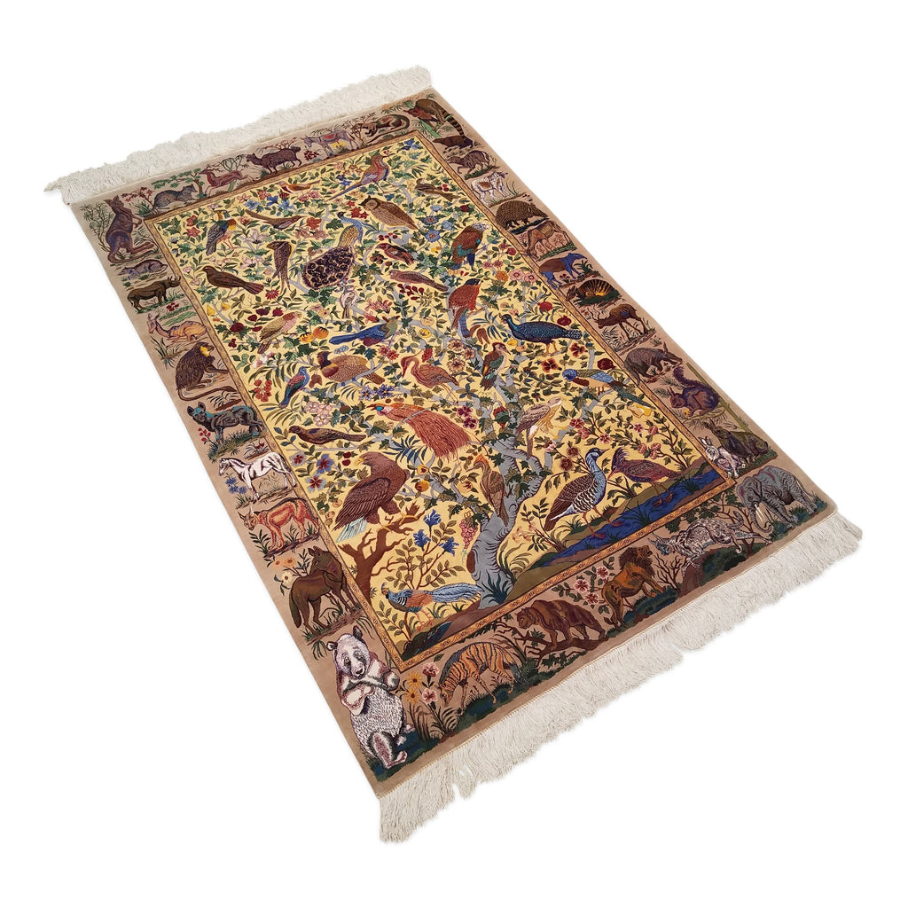 "3'4"" x 5'1""   Silk Persian Qom Rug Angle View"