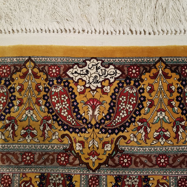 "3'4"" x 5'2""   Silk Persian Qom Rug Angle View"
