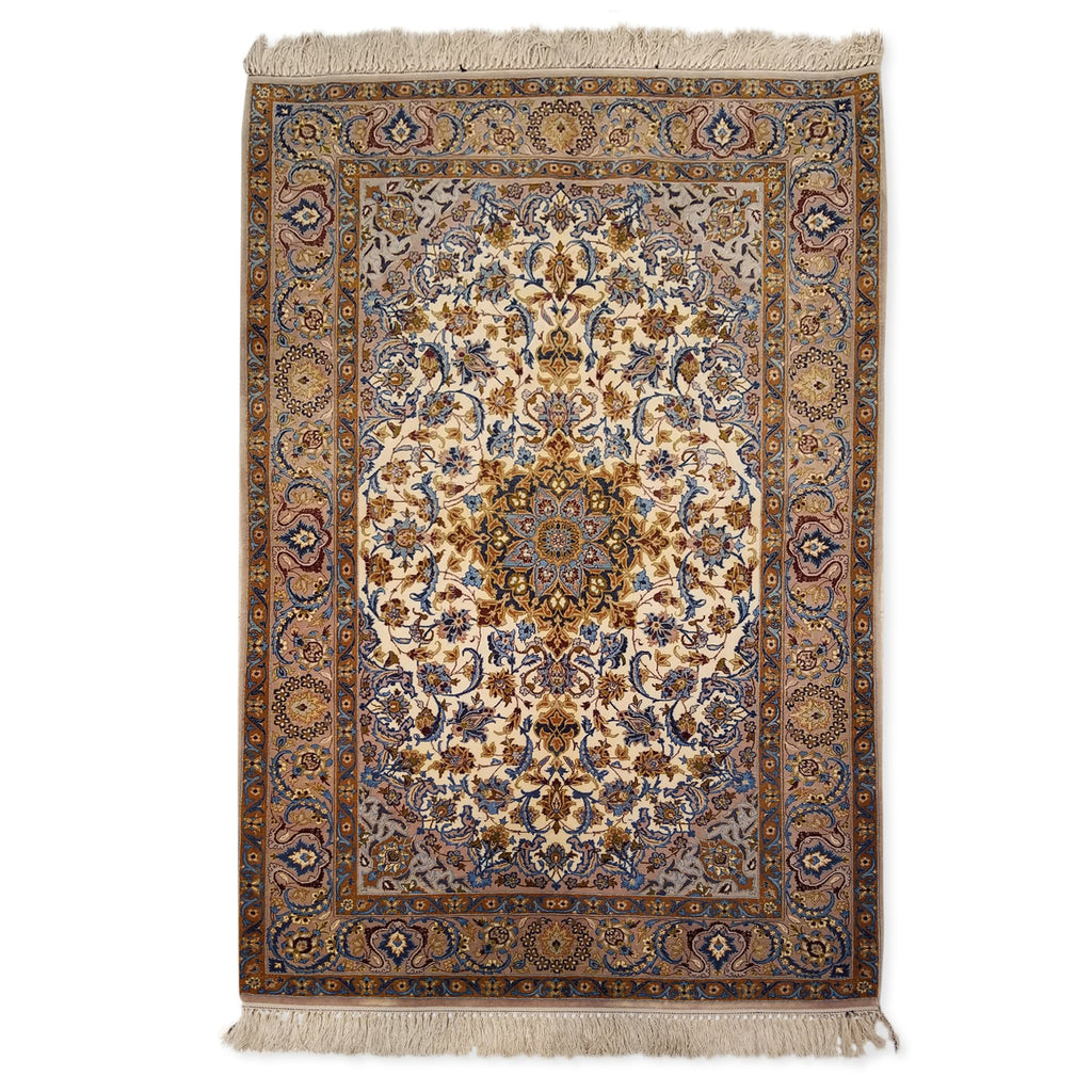 "3'7"" x 5'4""   Silk on Wool Persian Isfahan Rug Top View"