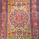 "4'8"" x 6'8""   Antique Persian Khorasan Floral Design Rug Angle View"