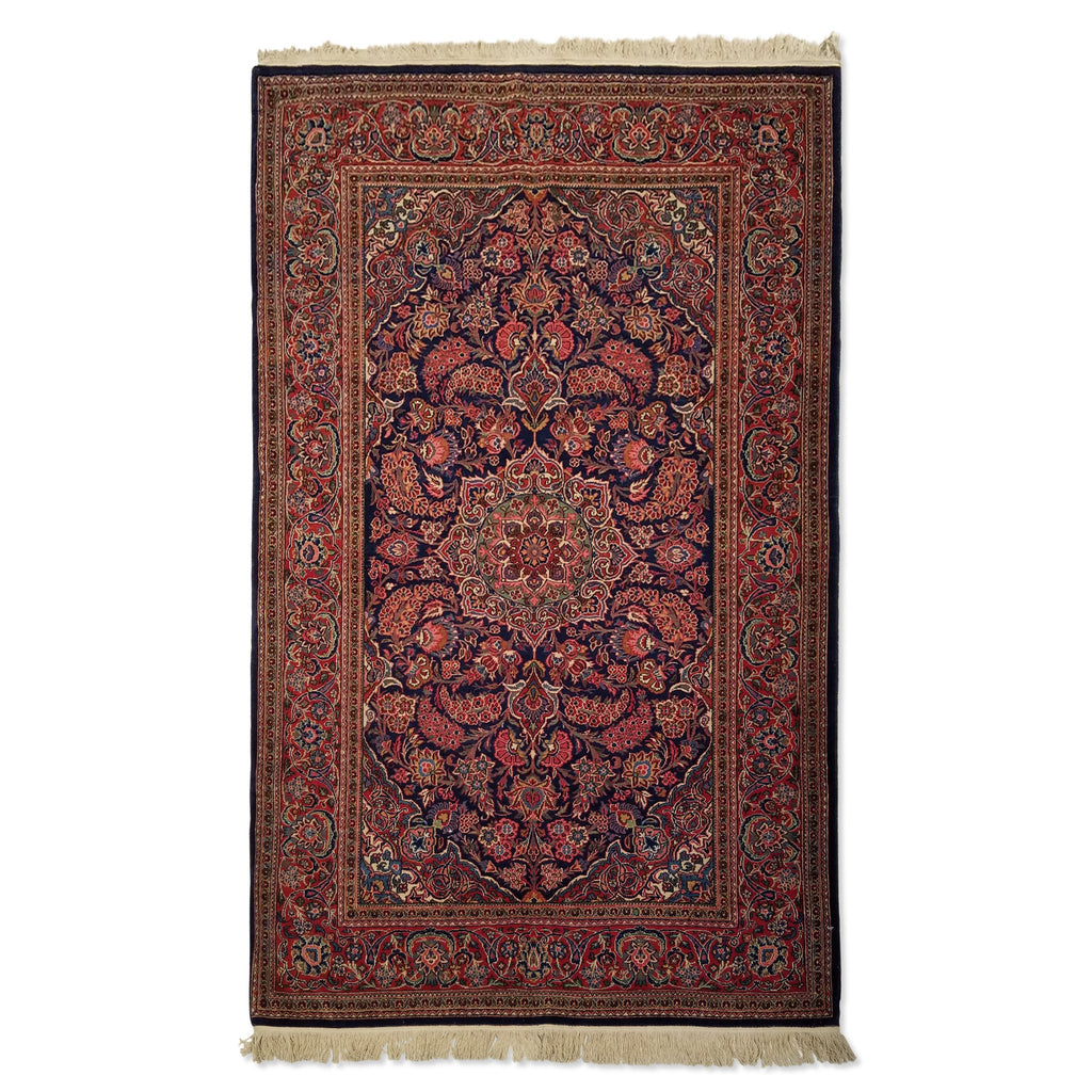 "4'0"" x 6'6""   Persian Keshan Rug Top View"