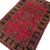 "4'6"" x 6'6""   Antique Persian Keshan Rug Angle View"