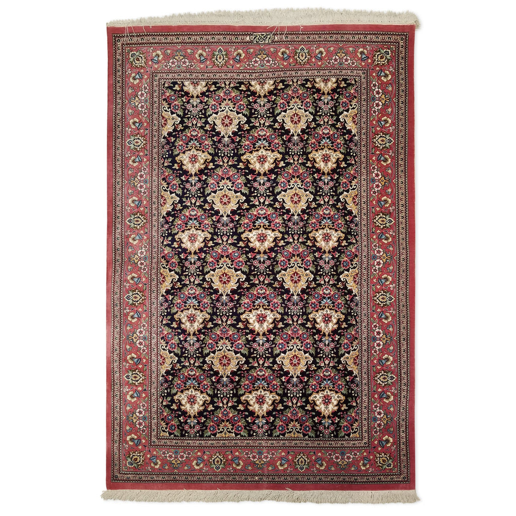 "3'4"" x 5'0""   Silk Persian Qom Rug Top View"