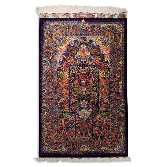 "3'3"" x 5'3""   Silk Persian Qom Color Genie Rug Top View"