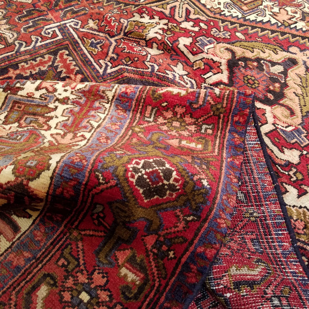 "7'6"" x 10'2""   Persian Heriz Rug Back View"
