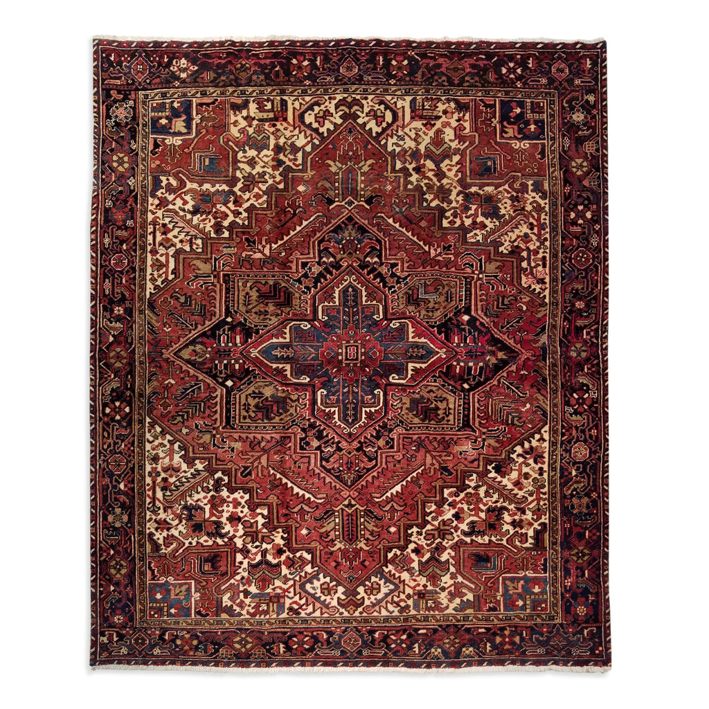 "8'2"" x 9'3""   Persian Heriz Rug Top View"
