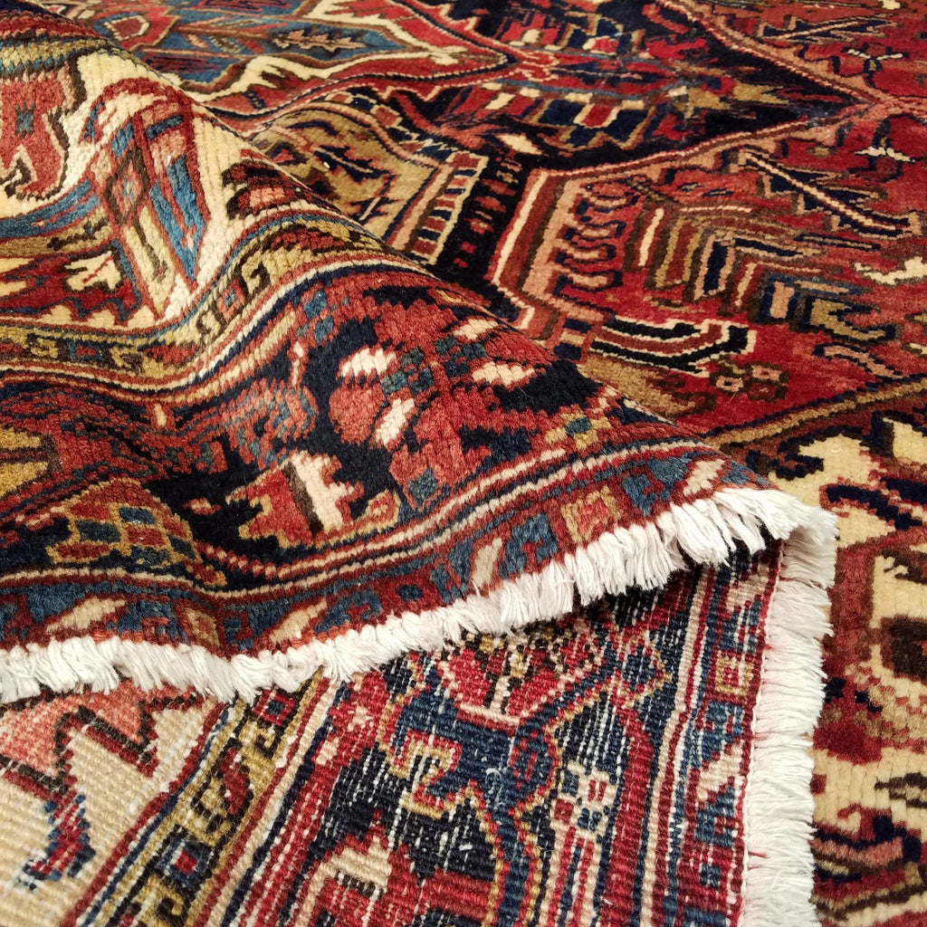"8'2"" x 9'3""   Persian Heriz Rug Back View"