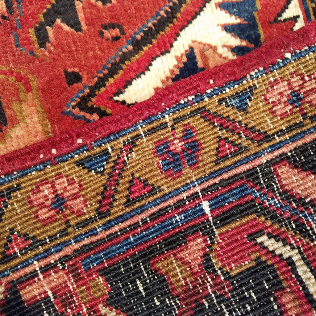 "7'10"" x 10'8""   Persian Heriz Rug Back View"