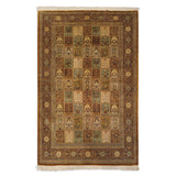 "4'4"" x 6'8""   Silk Persian Qom Garden of Eden Rug Top View"