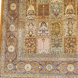 "4'4"" x 6'8""   Silk Persian Qom Garden of Eden Rug Angle View"