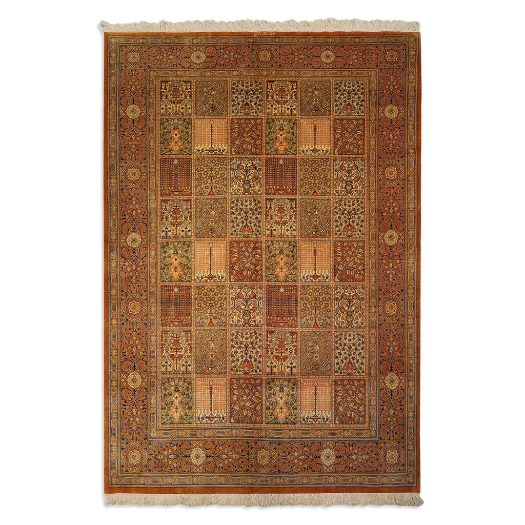 "4'4"" x 6'4""   Silk Persian Qom Garden of Eden Rug Top View"