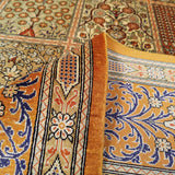 "4'4"" x 6'4""   Silk Persian Qom Garden of Eden Rug Angle View"