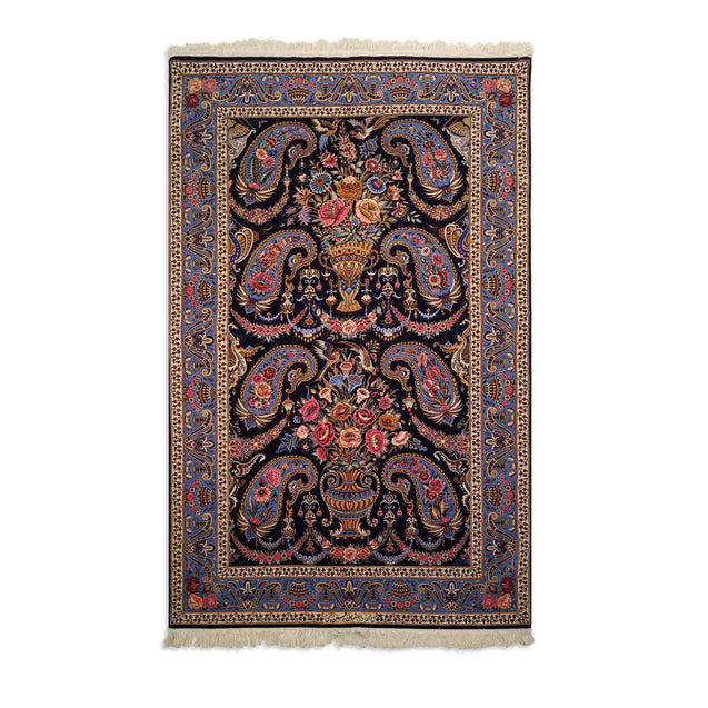 "3'8"" x 5'9""   Persian Isfahan Rug Top View"