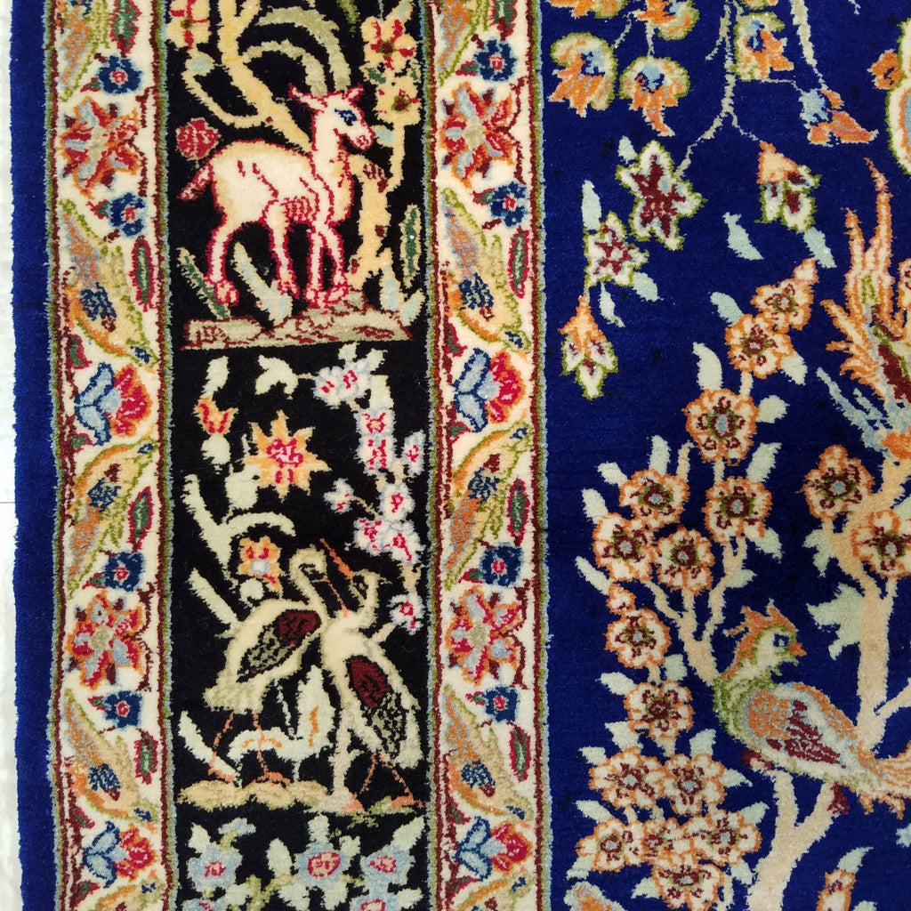 "3'7"" x 5'2""   Silk on Wool Persian Isfahan Garden of Eden Rug Angle View"