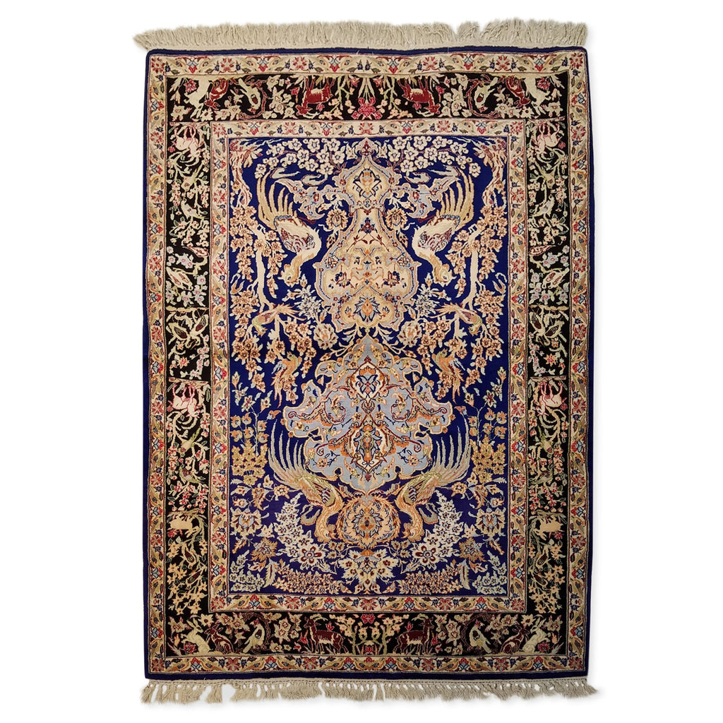 "3'7"" x 5'2""   Silk on Wool Persian Isfahan Garden of Eden Rug Back View"