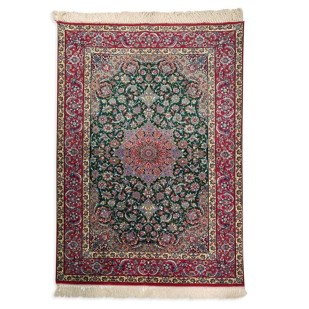 "3'8"" x 5'5""   Silk on Wool Persian Isfahan Rug Top View"
