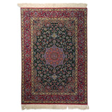 "3'8"" x 5'5""   Silk on Wool Persian Isfahan Rug Angle View"