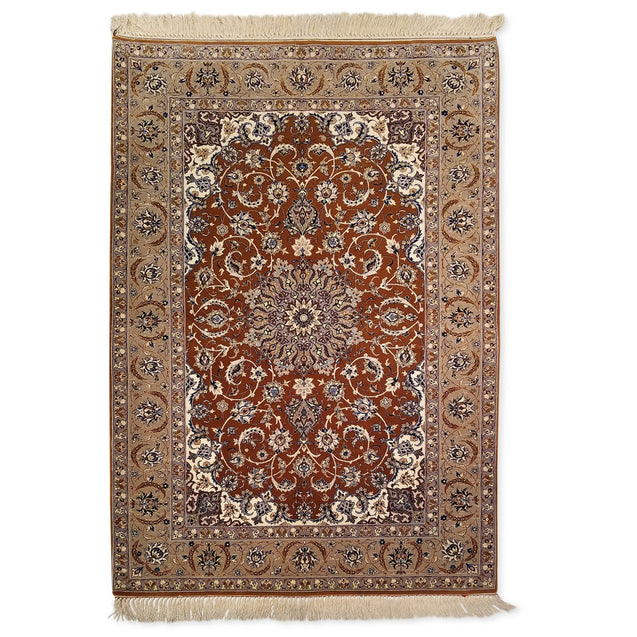 "3'7"" x 5'3""   Silk on Wool Persian Isfahan Rug Top View"