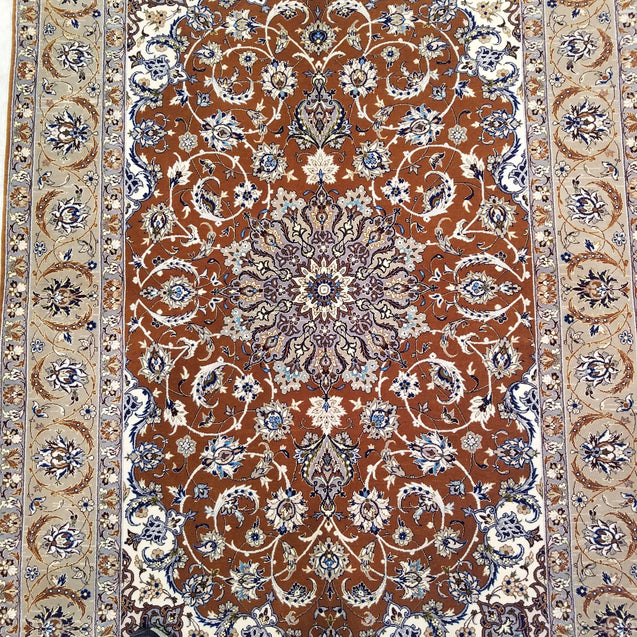 "3'7"" x 5'3""   Silk on Wool Persian Isfahan Rug Angle View"