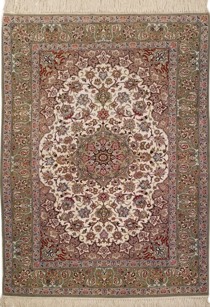 "3'8"" x 5'4""   Persian Isfahan Rug Top View"