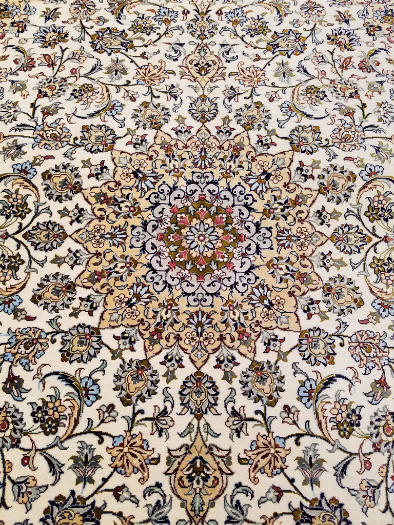 "3'3"" x 4'10""   Silk Persian Keshan Rug Back View"