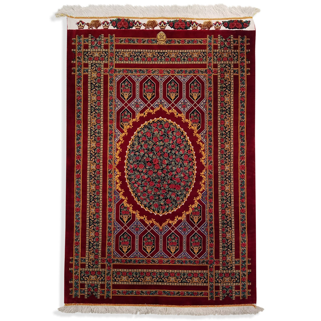 "2'7"" x 3'11""   Silk Persian Qom Garden of Eden Rug Top View"