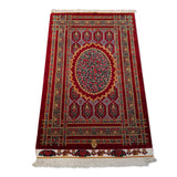 "2'7"" x 3'11""   Silk Persian Qom Garden of Eden Rug Angle View"