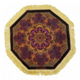 "2'4"" x 2'4""   Silk Persian Qom Flower Power Octagon Rug Top View"