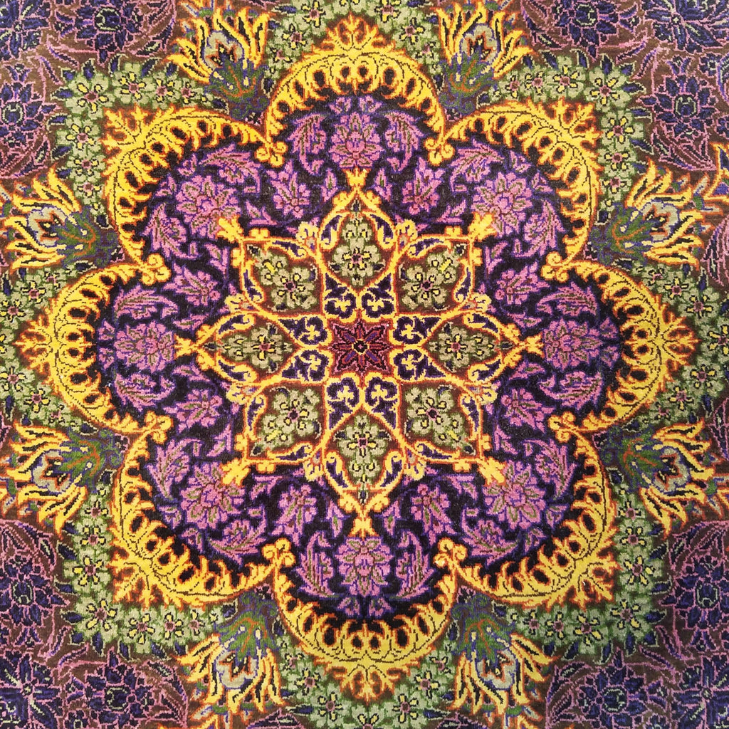 "2'4"" x 2'4""   Silk Persian Qom Flower Power Octagon Rug Angle View"