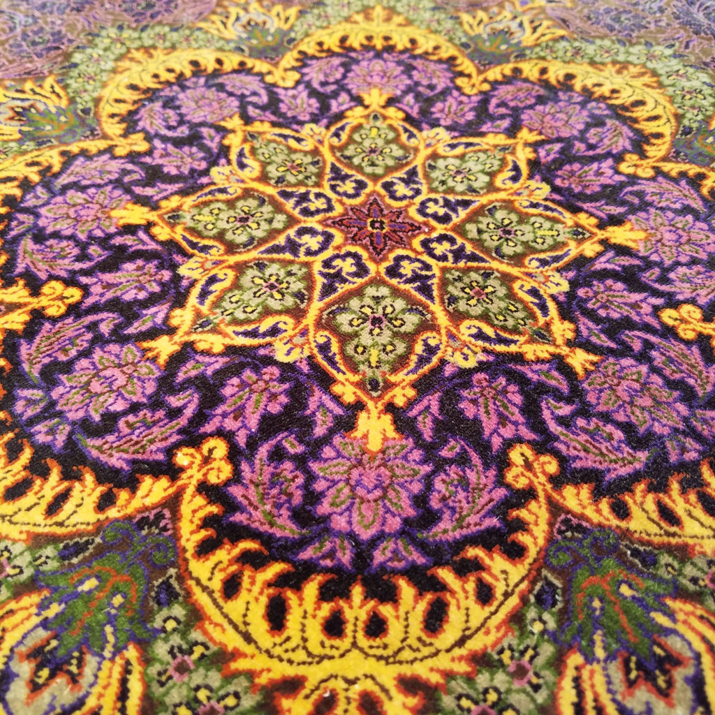 "2'4"" x 2'4""   Silk Persian Qom Flower Power Octagon Rug Back View"