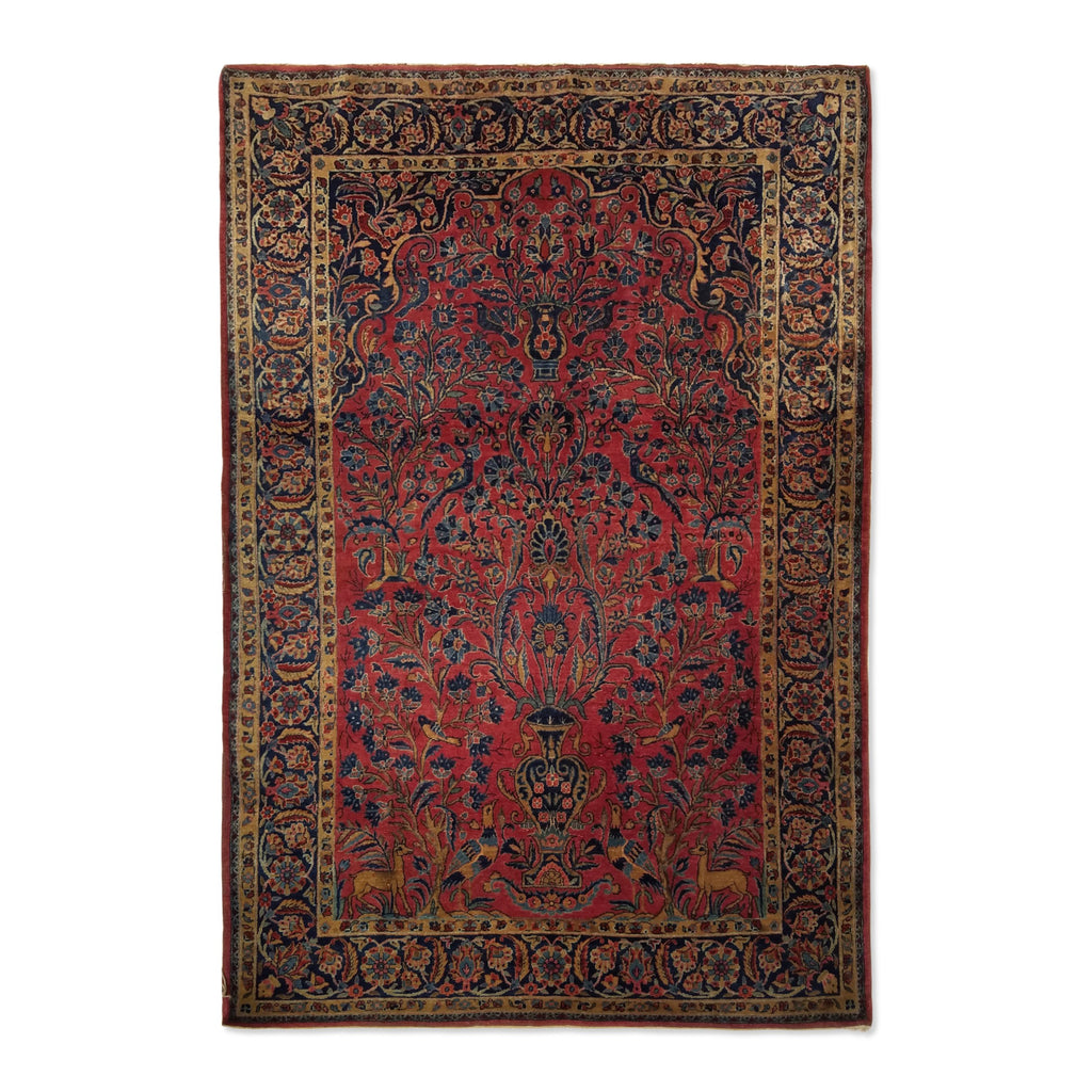 "4'4"" x 6'5""   Antique Persian Keshan Rug Top View"