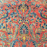 "4'4"" x 6'5""   Antique Persian Keshan Rug Angle View"